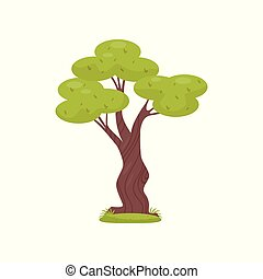 Green tree, element of tropical jungle forest landscape vector Illustration on a white background