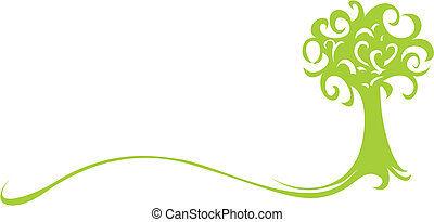 Green tree - Abstract green tree isolated on white...
