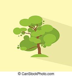 Green Tree Flat Eco Icon Vector