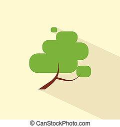 green tree flat eco icon vector symbol