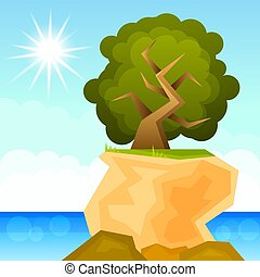 green tree growing on a rock vector