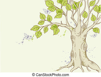 hand drawn vector tree with green leaves