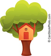 Green tree house icon, cartoon style