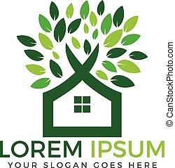 Green tree house vector logo design.