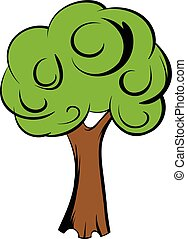 Green tree icon cartoon