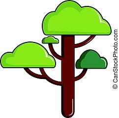 Green tree icon, cartoon style