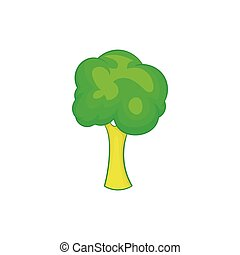 Green tree icon, cartoon style