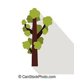 Green tree icon, flat style