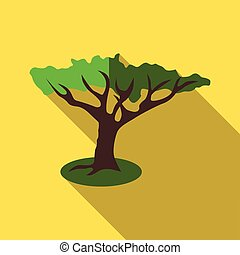 Green tree icon, flat style