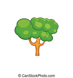 Green tree icon in cartoon style