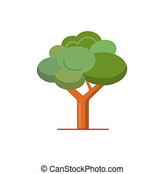 Green tree icon in flat style.
