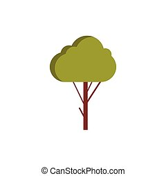 Green tree icon in flat style