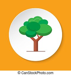Green tree icon in flat style on round button