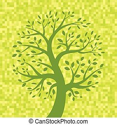 Green Tree icon on Yellow Pixel Background