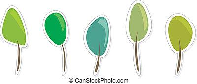 Green tree icon vector set