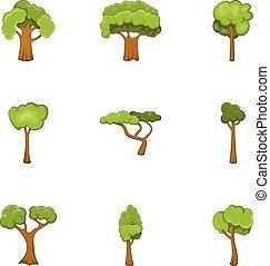Green tree icons set, cartoon style
