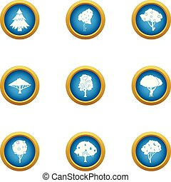 Green tree icons set, flat style