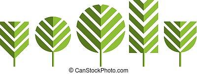 green tree icons vector illustration