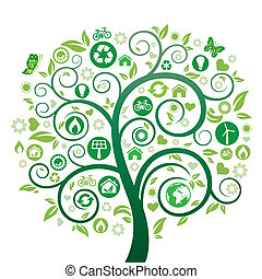 green tree illustration, environment icon