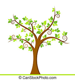 Green Tree - illustration of growing tree on white ...
