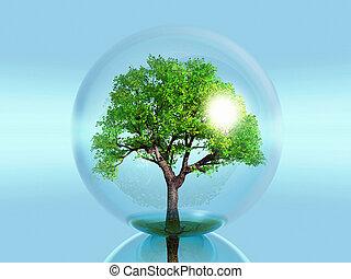 green tree in a bubble