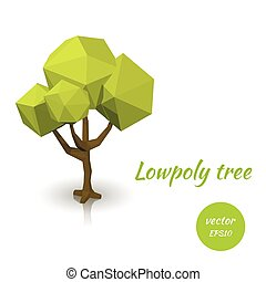 Green tree in low poly style.