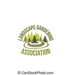 Green tree landscape gardening vector icon