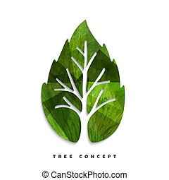 Green tree leaf concept symbol for nature care