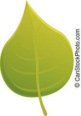 Green tree leaf icon, cartoon style