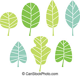 Green tree leaves collection isolated on white
