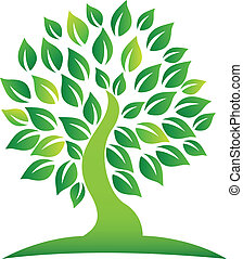 Green tree logo - Vector of green tree logo