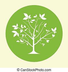 green tree logo flat circle icon vector