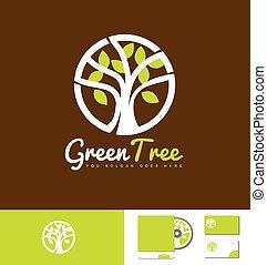 Green tree nature logo design