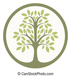 Green tree of life in a circle