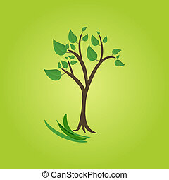 green tree on green background