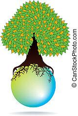 green tree on water sphere