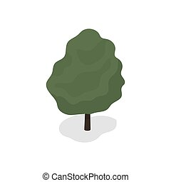 Green tree on white background. Vector illustration.