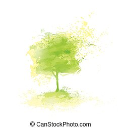 Green Tree Paint Splash Isolated Over White