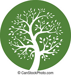 Green tree round icon