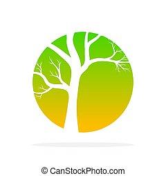 Green tree round icon. Vector illustration