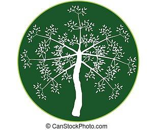Green tree round icon, vector illustration