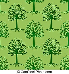 Green Tree Seamless Pattern. Leaves Background