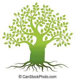 Green tree silhouette