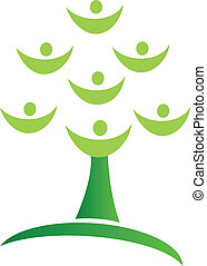 Green tree teamwork logo