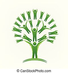 Green tree teamwork people logo vector image