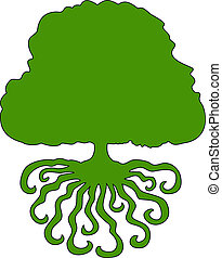 Green tree - Tree silhouette on a white background