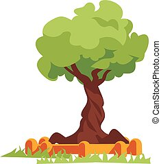 green tree, vector flat illustration.
