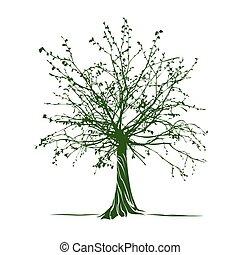Green Tree. Vector Illustration.