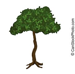 Green tree, vector illustration. Isolated on white.