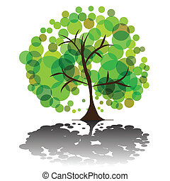 Green tree - Vector - Illustration of a green tree with...